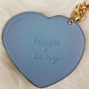 Coach Accessories - Keith Haring Leather Heart Key FOB / Bag Charm NWT